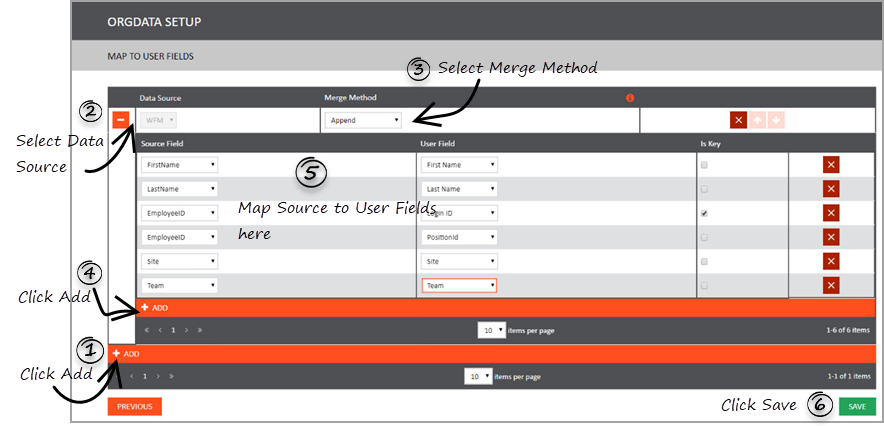 Mapping Source to User Fields