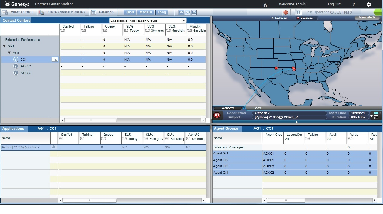 Dashboard View of the Association of an Application–Agent Group Association through an Agent Group Contact Center