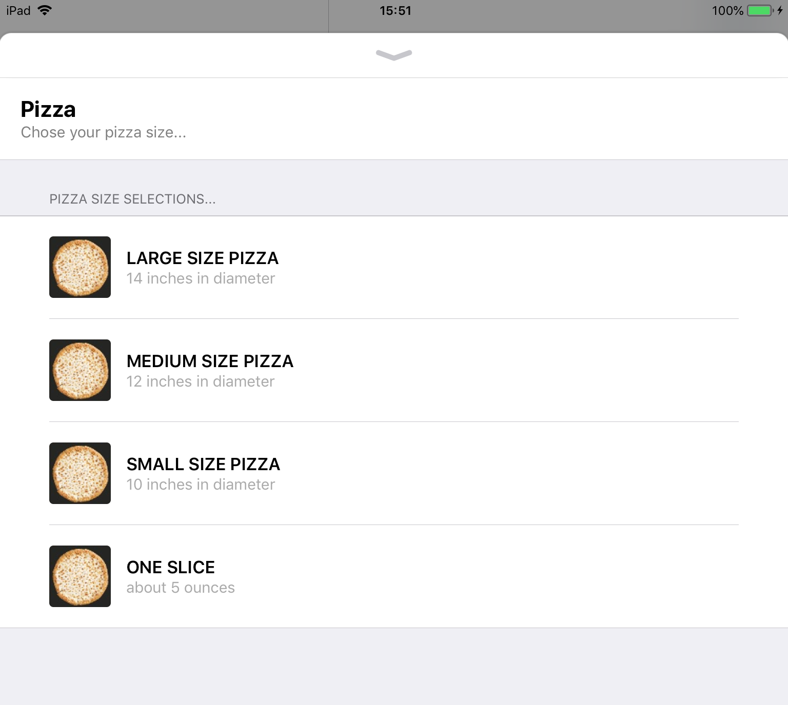 Example: Pizza size menu in Apple Business Chat