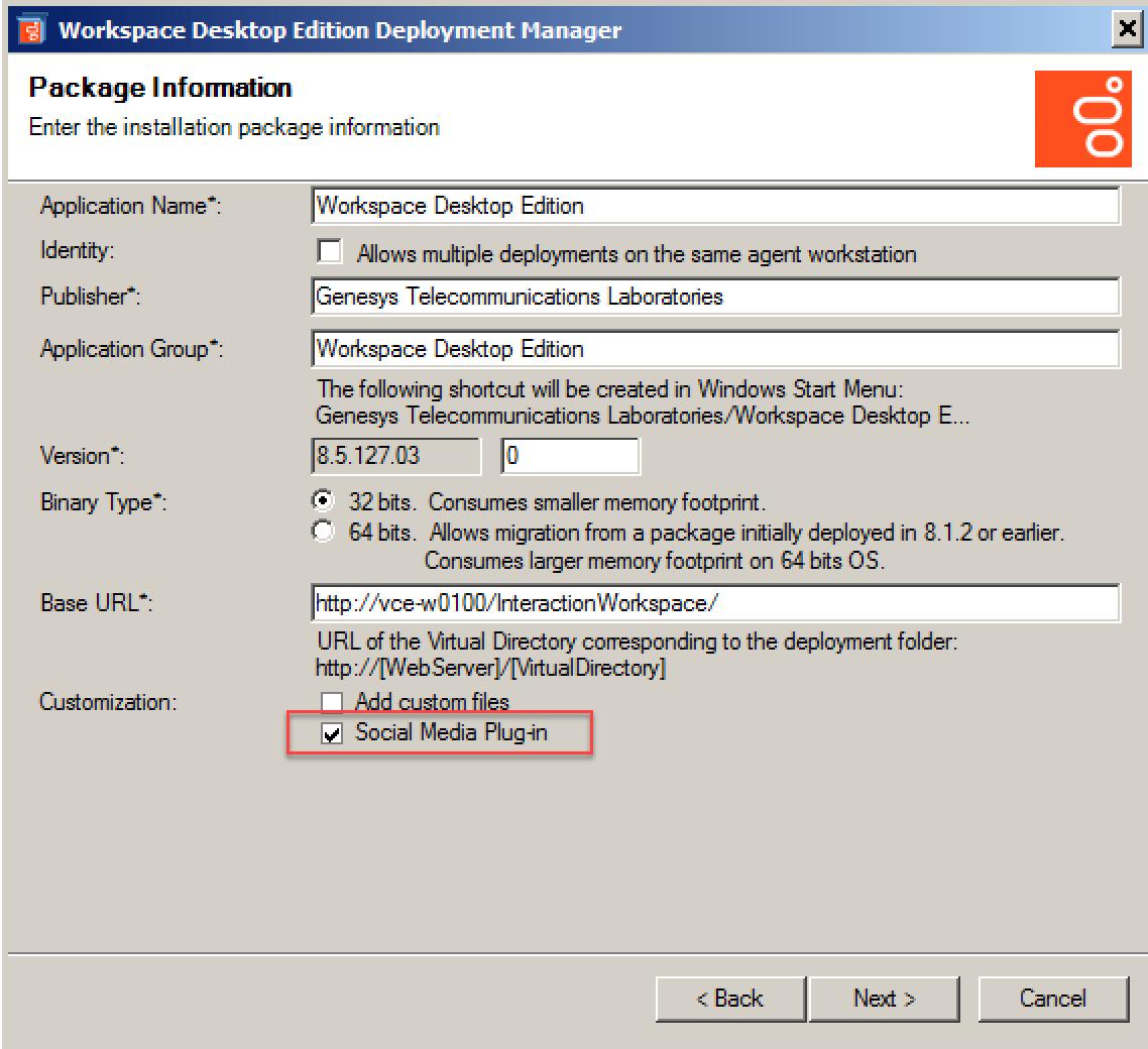 Social Media Plugin for Workspace Desktop Edition