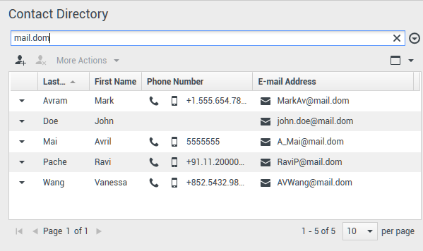 Contact Directory in Grid View