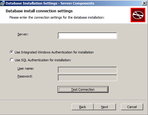 Database install connection settings