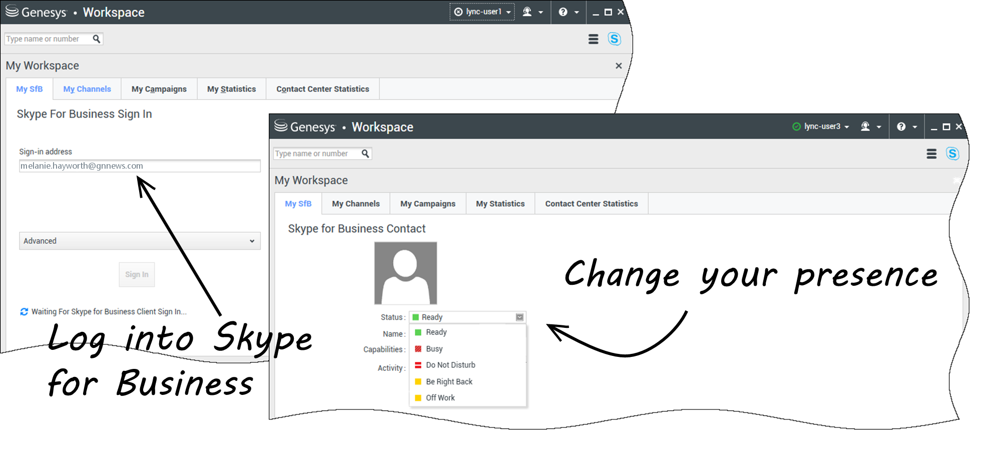 Usar el plugin de Workspace para Skype for Business