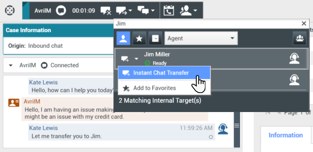 Finding an internal target for a chat transfer in the active Chat Interaction window