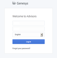 Advisors login page